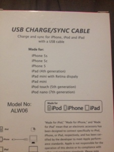 Accessorize Your Life USB Charge/Sync Cable